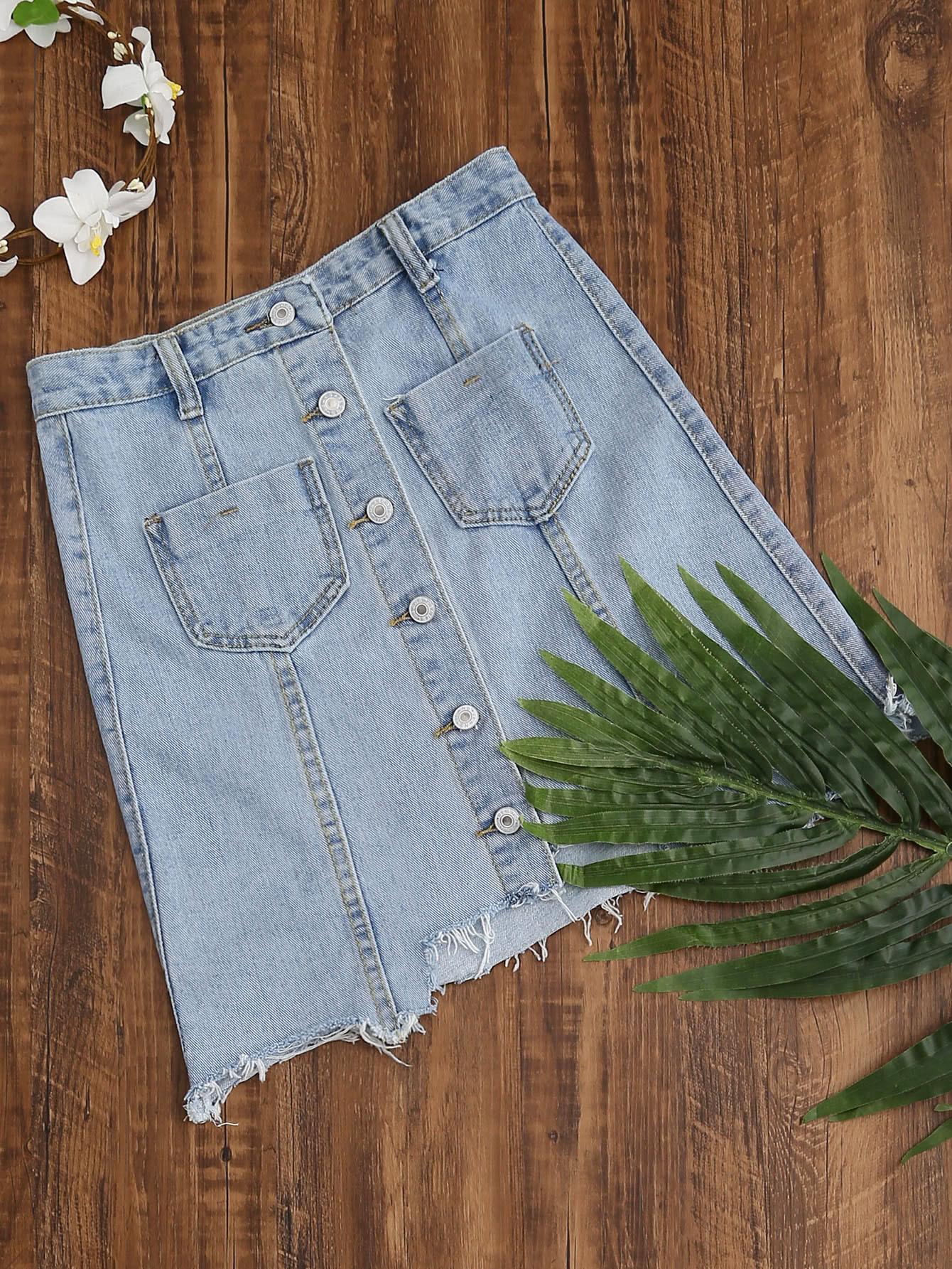 Фото Single Breasted Dual Pockets Raw Hem Denim Skirt. Купить с доставкой