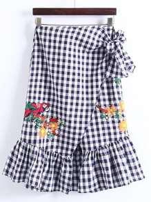 Ruffle Hem Grid Bow Tie Skirt