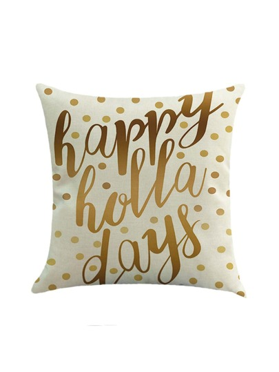 Contrast Slogan And Polka Dot Print Pillowcase Cover