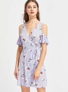 Ruffle Sleeve Surplice Wrap Crinkle Floral Dress