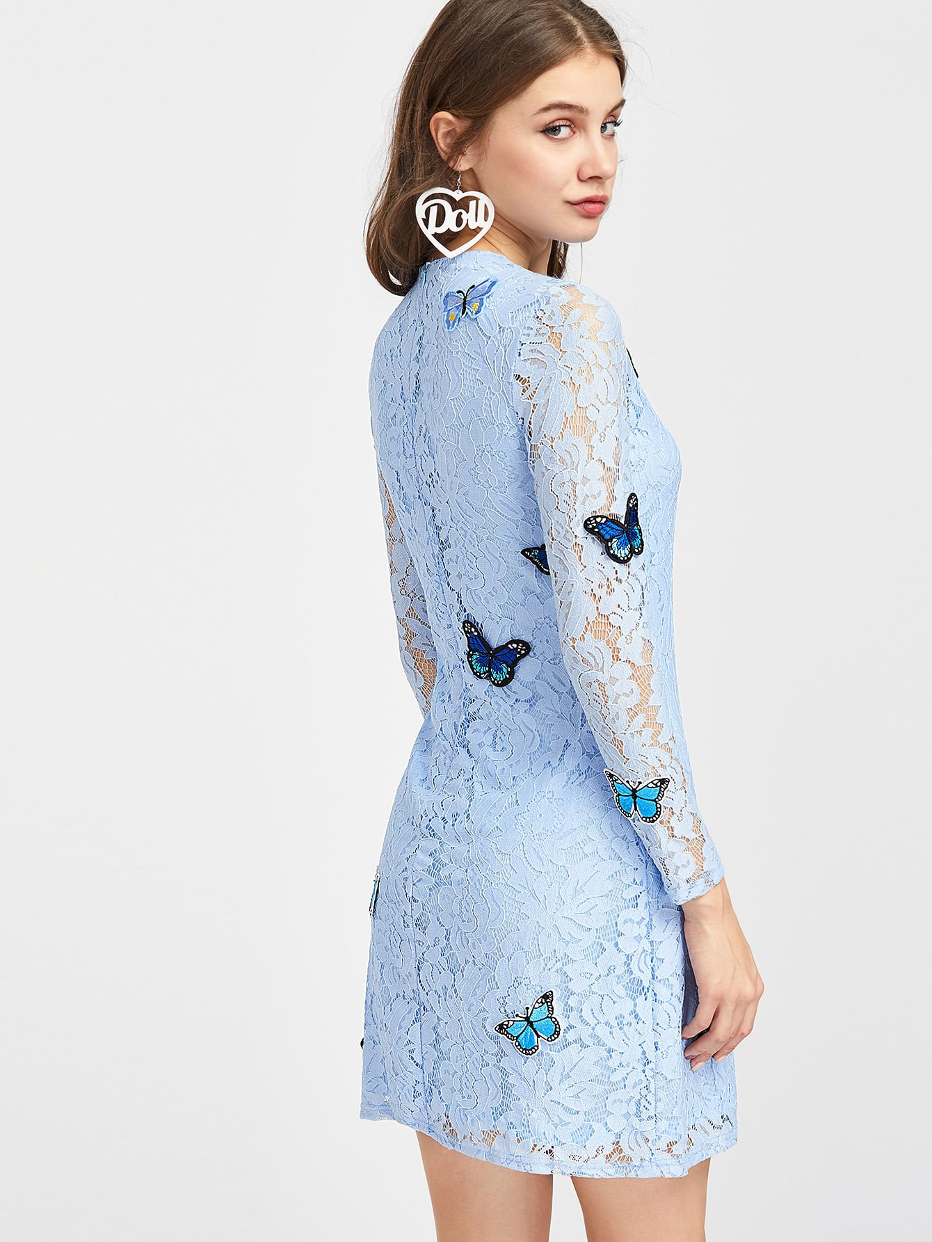 Embroidered butterfly applique floral lace dress shein