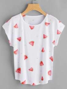 Watermelon Print Cap Sleeve Tee