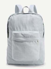 Jeansrucksack mit Tasche und Reißverschluss vorn