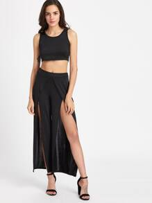 Crop Tank Top With Slit Wrap Pants