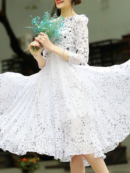 Фото Birds Print Beading A-Line Dress. Купить с доставкой