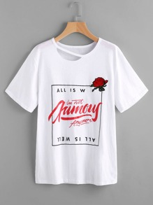 Cutout Neckline Embroidered Rose Patch Graphic Tee