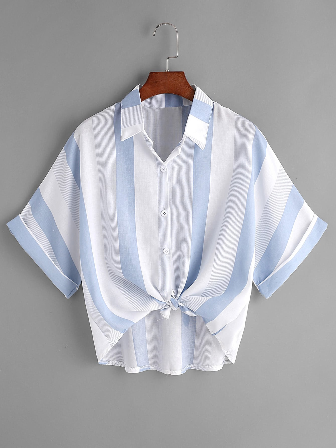 Contrast striped tie front cuffed shirt shein sheinside for Striped shirt with tie