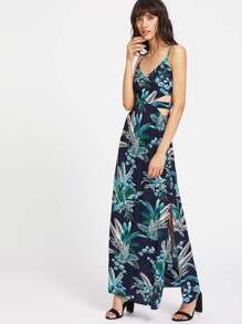 Tropical Print Peekaboo Cutout Slit Cami Dress