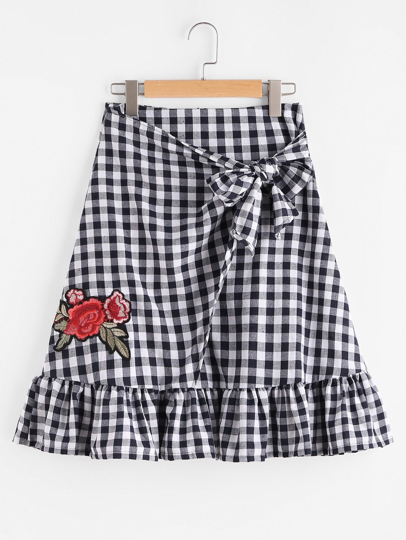 Gingham Appliques Frill Hem Bow Tie Skirt plunged gingham bow tie back romper