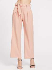 Self Tie Waist Wide Leg Pants