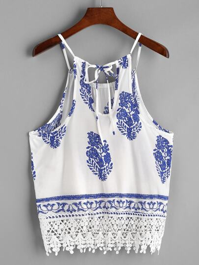 Crochet Lace Trim Vintage Print Cami Top