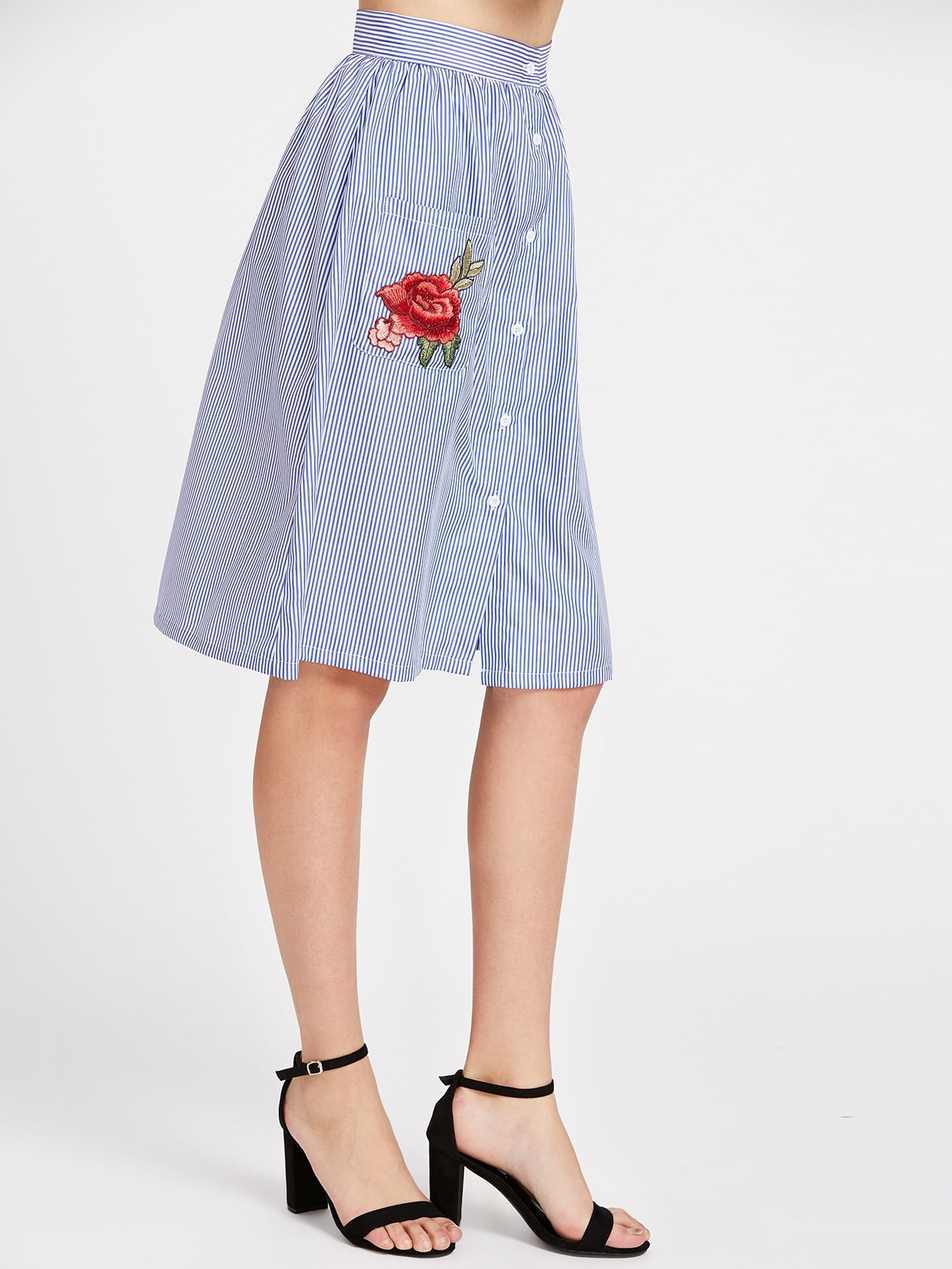 Button front striped skirt with embroidered rose applique