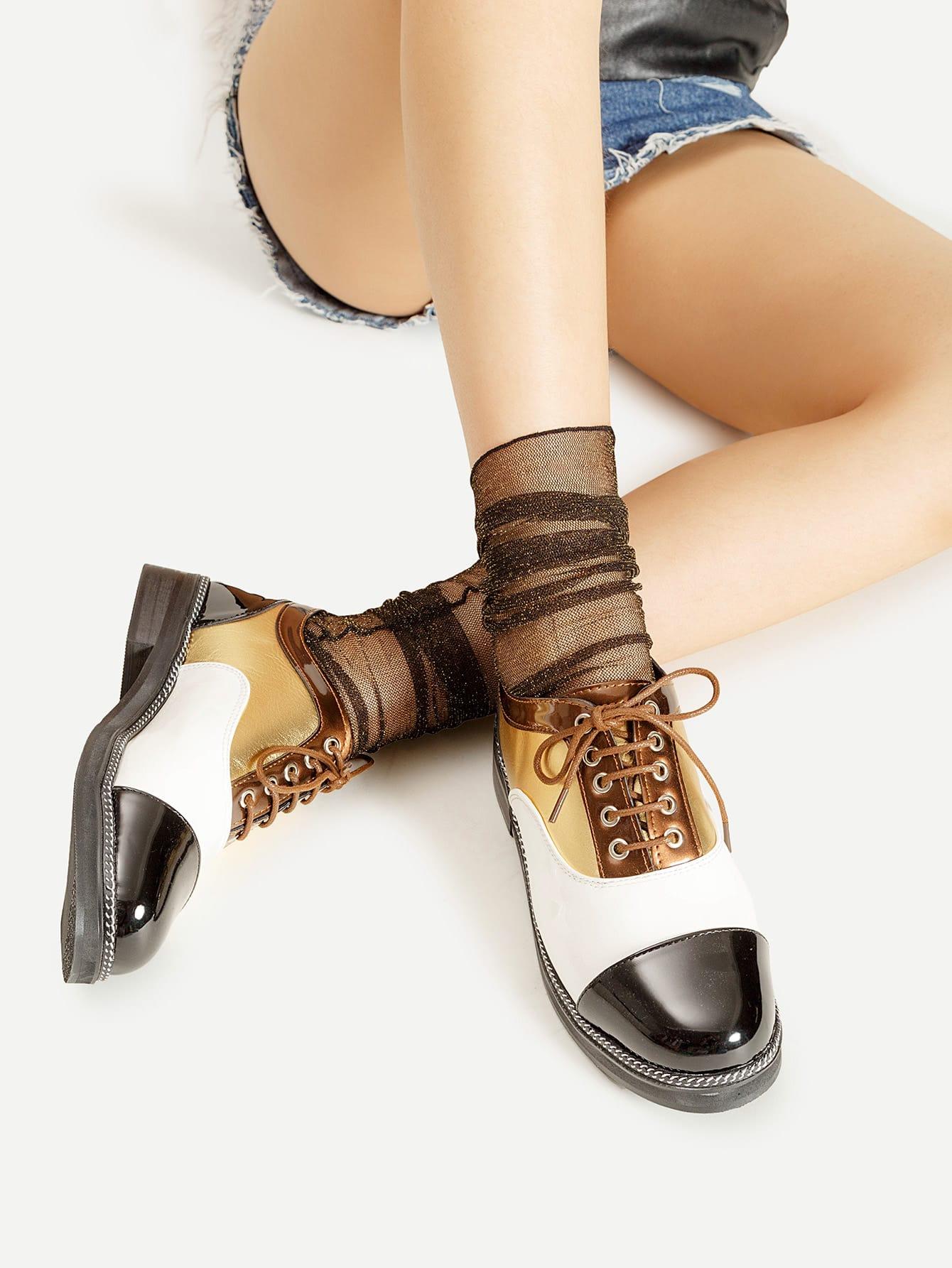 Glitter Seam Side Ankle Socks