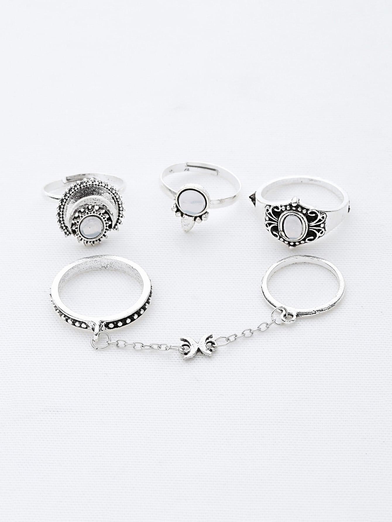 Фото Gemstone Chain Linked Ring Set. Купить с доставкой