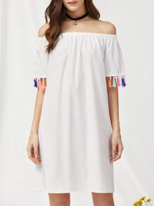 Bardot Fringe Trim Beach Dress