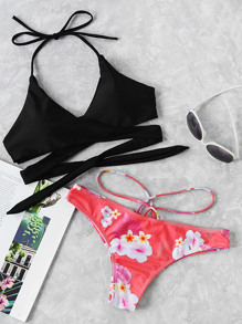 Cross Wrap Strappy Mix And Match Bikini Set