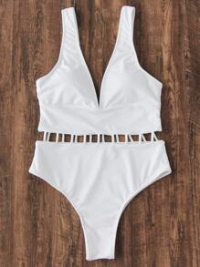 Deep V Neck Ladder Strap Swimsuit