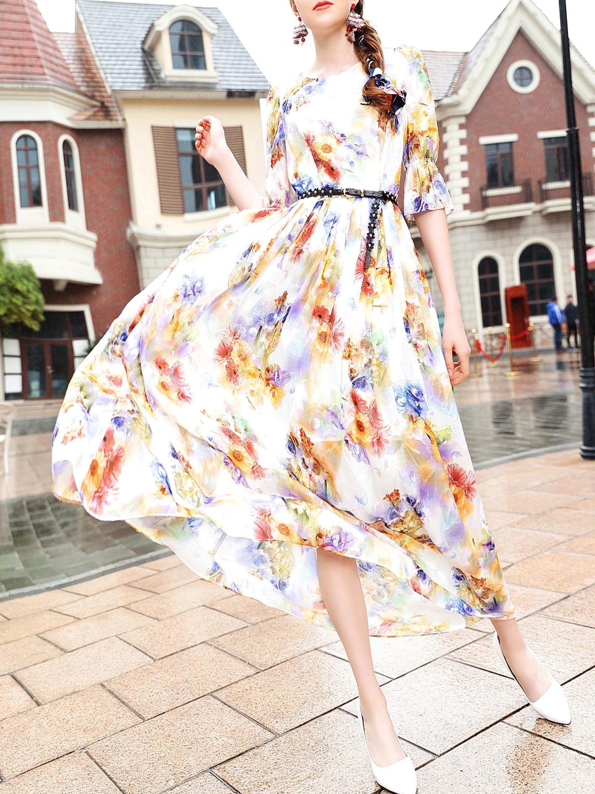 Фото Flowers Print Belted Maxi Dress. Купить с доставкой
