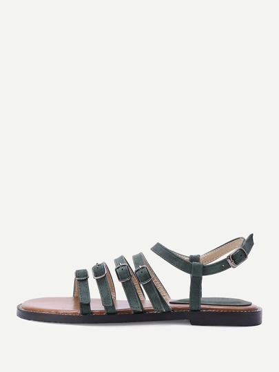 Buckle Design Strappy Flat Sandals