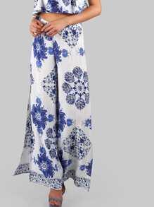 Paisley Print Long Slit Pants BLUE