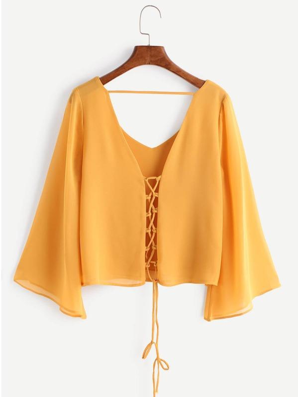 Kimono Sleeve Criss Cross Lace-Up Blouse, null