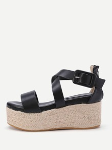 Criss Cross Woven Wedge Sandals With Zipper Back