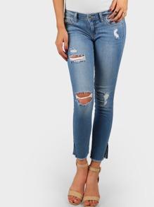 Split Hem Distressed Denim Jeans DENIM