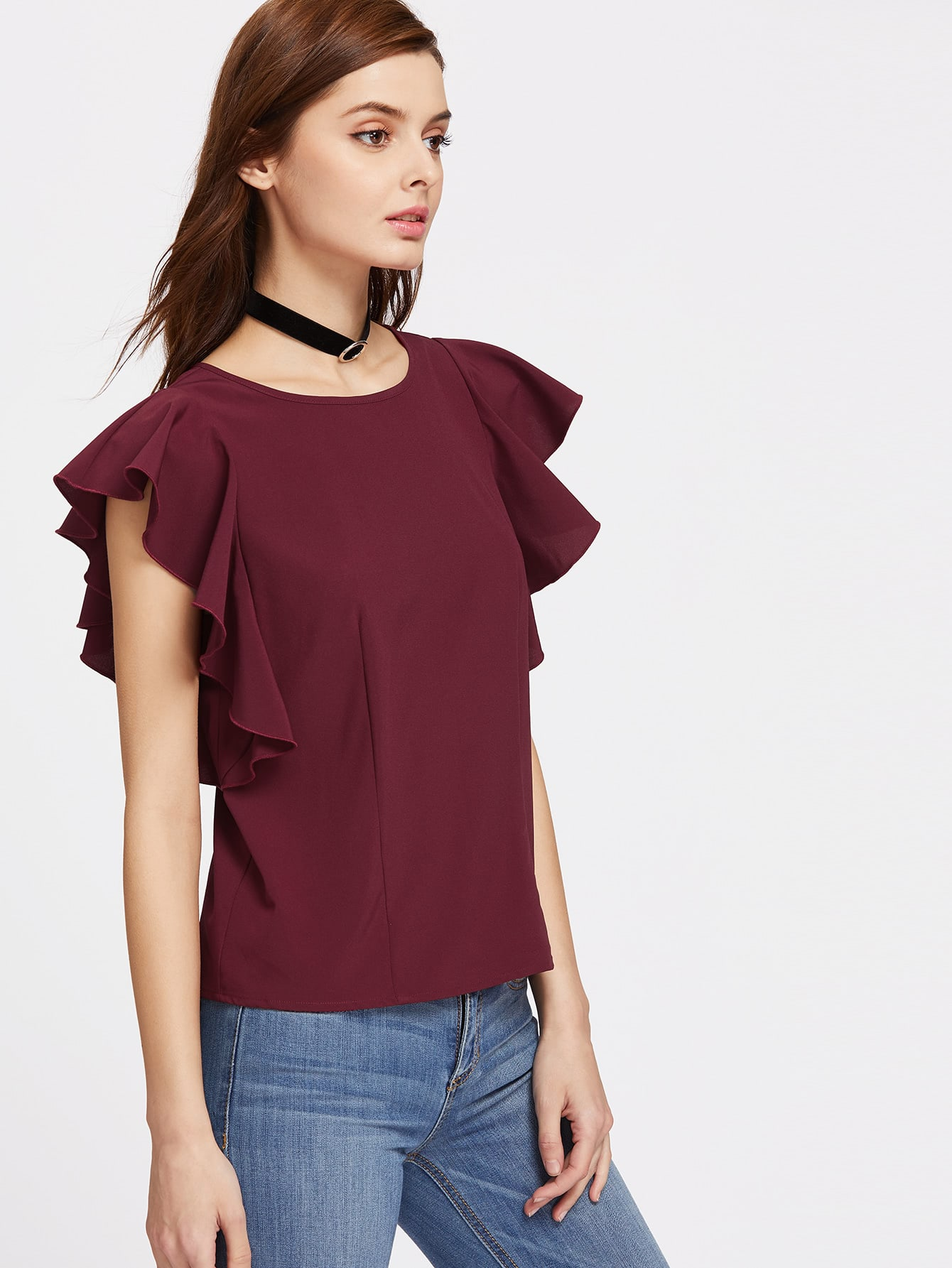 Flutter Cap Sleeve Top tiered flutter sleeve top