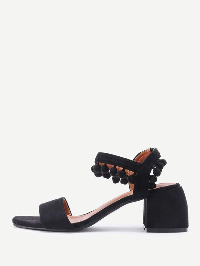 Pom Pom Detail Block Heeled Sandals