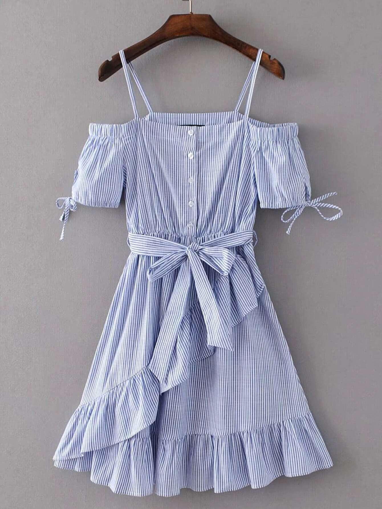 Фото Vertical Striped Ruffle Trim A Line Dress With Self Tie. Купить с доставкой