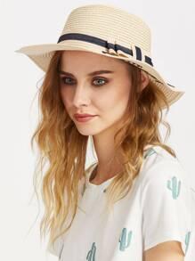 Sombrero de paja con estampado de letra con cordón de lazo