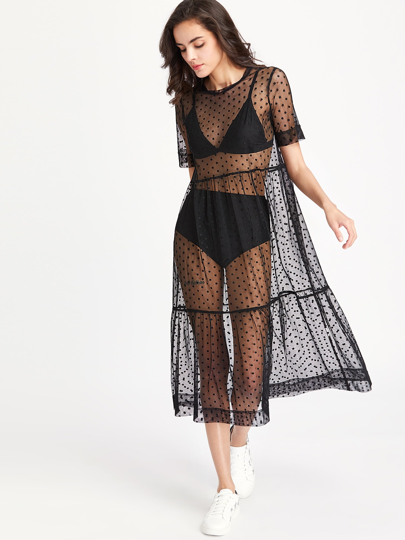 Tiered Sheer Dobby Mesh Dress