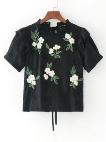 Band Collar Ditsy Embroided Tie Back Ruffle Top