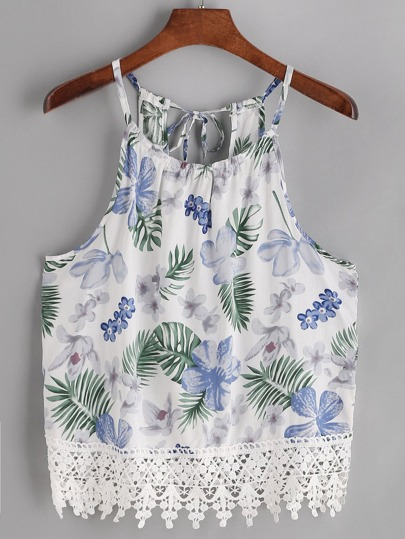 Tropical Print Lace Trim Tie Back Cami Top