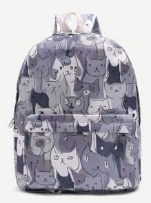 Cat Print Casual Canvas Backpack