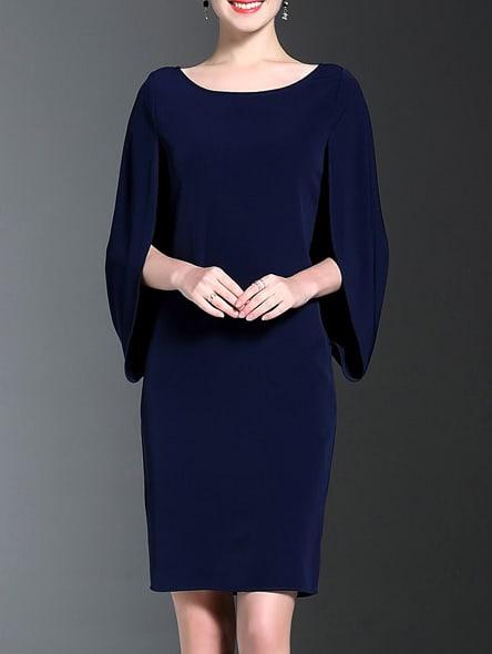 Фото Navy Split Sleeve Sheath Dress. Купить с доставкой