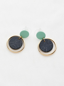 Marble Effect Hoop Drop Earrings