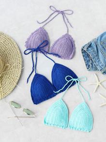 Random Color 1 PC Triangle Crochet Bikini Top