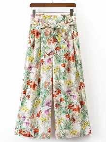 Floral Wide Leg Pants With Self Tie