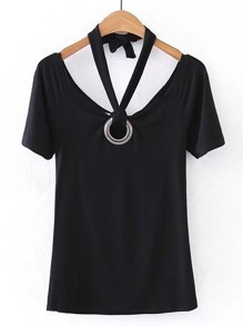 Halterneck Tee With Ring Detail