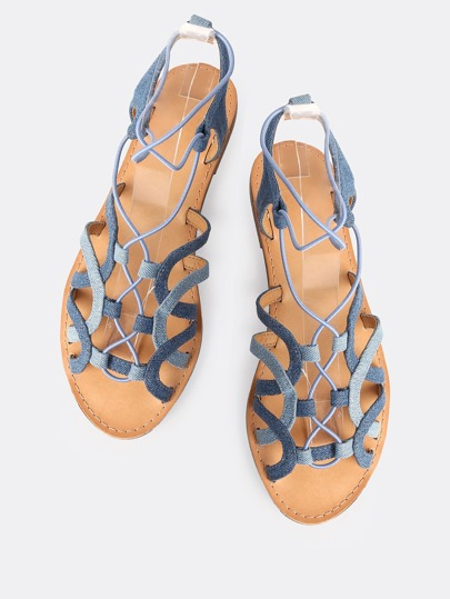 Double Denim Wash Elastic Strap Sandals DENIM
