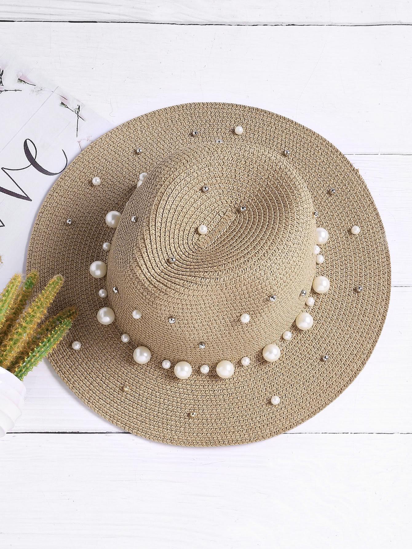 Faux Pearl Straw Fedora Hat