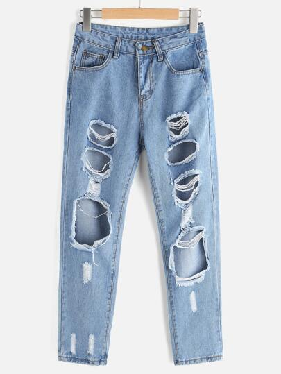 Ripped Straight Cropped Jeans