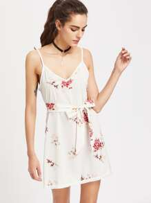 V Neckline Floral Print Chiffon Cami Dress With Belt