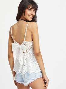 Scallop Edge Bow Back Eyelet Embroidered Peplum Cami