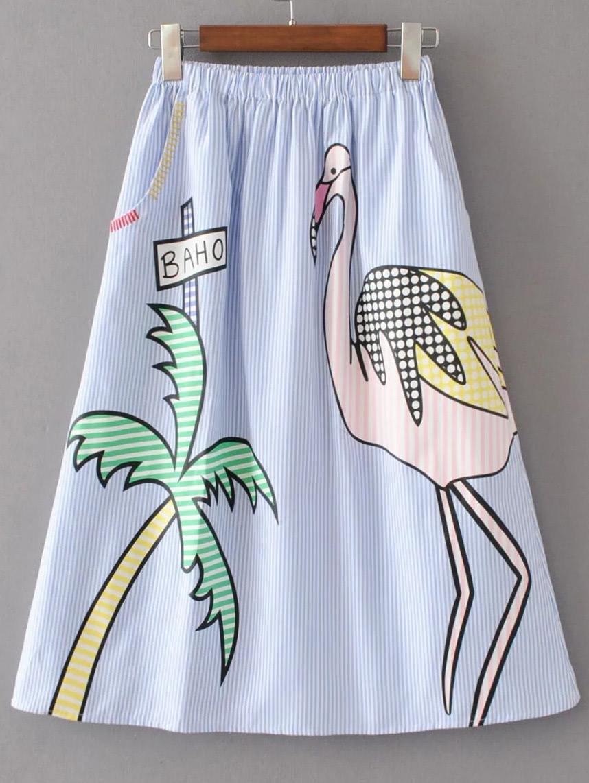 Elastic Waist Pinstripe A Line Skirt