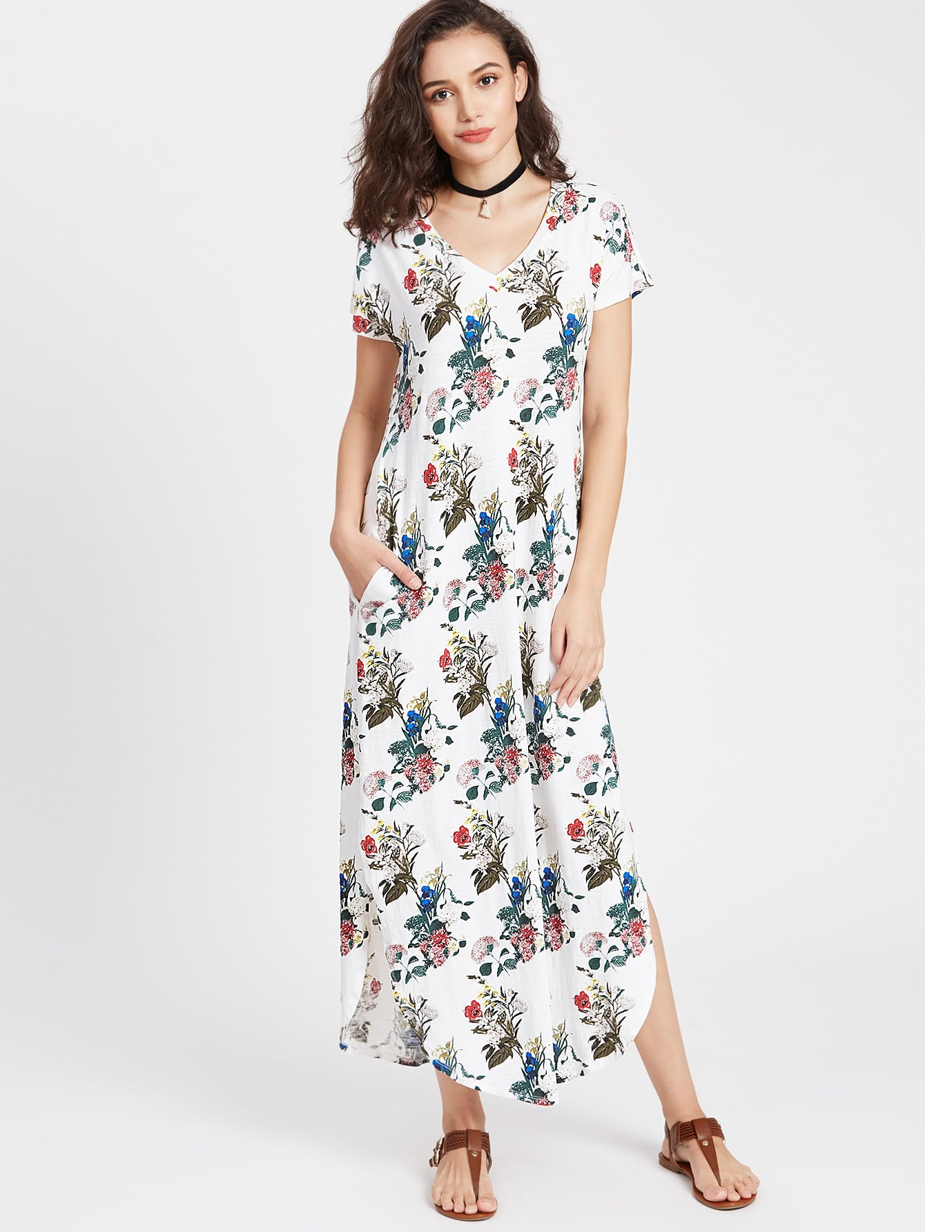 Фото Botanical Print Dolphin Hem Tee Dress. Купить с доставкой