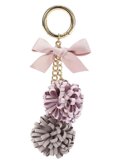 Pom Pom & Bow Detail Keychain