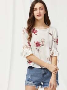 Bell Sleeve Tied V Back Flower Print Top