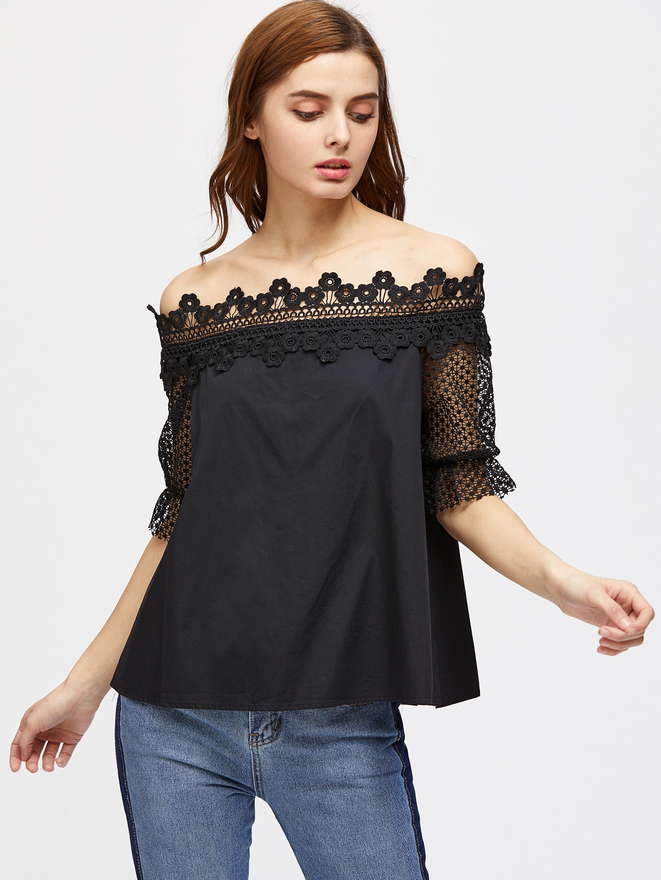 Crochet Bardot Neck And Sleeve Top blouse170422407